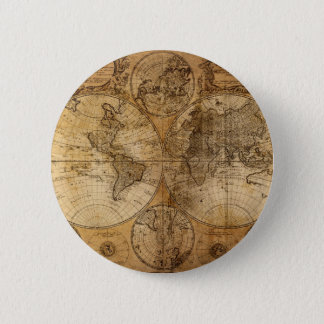 Vintage World Map Atlas 6 Cm Round Badge