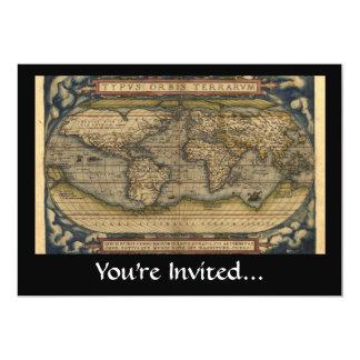 Vintage World Map Atlas Historical Design 13 Cm X 18 Cm Invitation Card