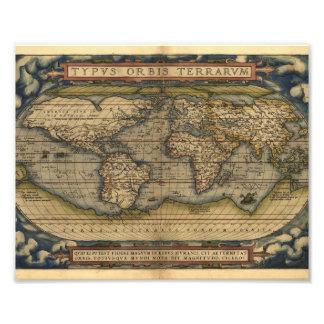 Vintage World Map Atlas Historical Design Art Photo