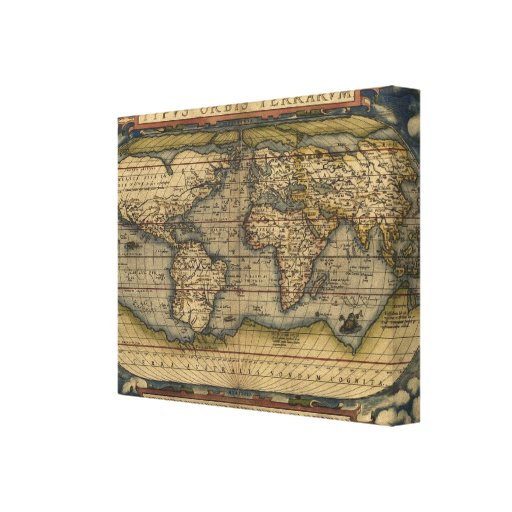Vintage World Map Atlas Historical Design Gallery Wrap Canvas