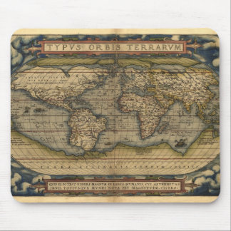 Vintage World Map Atlas Historical Design Mouse Pad