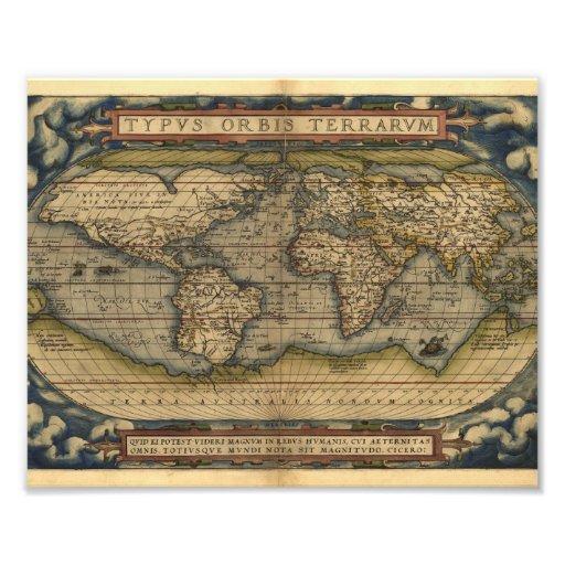 Vintage World Map Atlas Historical Design Photo Art