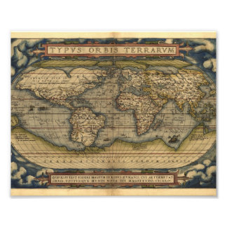 Vintage World Map Atlas Historical Design Photo Print