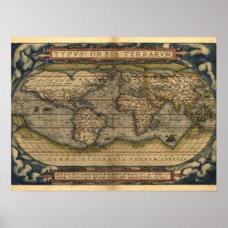 Vintage World Map Atlas Historical Design Poster