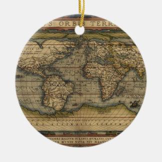 Vintage World Map Atlas Historical Design Round Ceramic Decoration