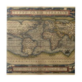 Vintage World Map Atlas Historical Design Small Square Tile
