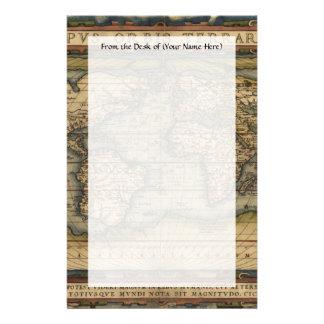 Vintage World Map Atlas Historical Design Stationery