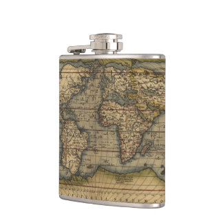 Vintage World Map Atlas Historical Hip Flask