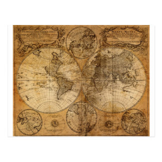 Vintage World Map Atlas Postcard