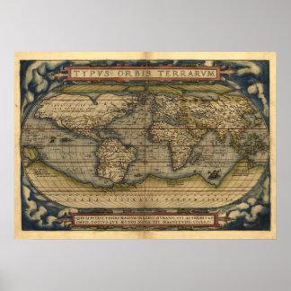 Vintage World Map Atlas TYPVS ORBIS TERRARVM Print