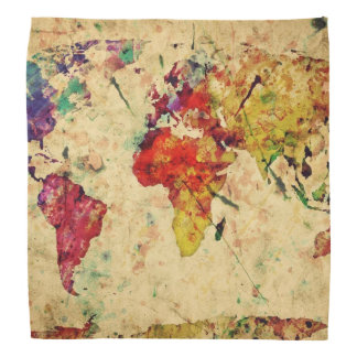 Vintage world map bandana