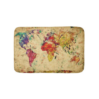 Vintage world map bath mat