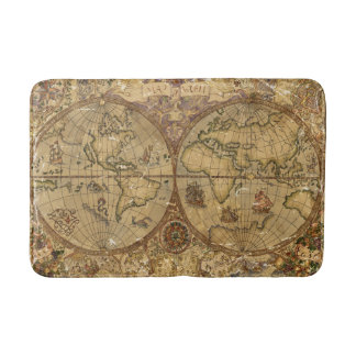 Vintage World Map Bath Mats