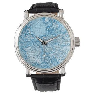 Vintage World Map Blue Travel Watch