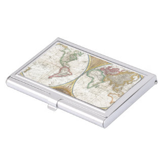 Vintage World Map Business Card Holder