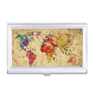 Vintage world map business card holder