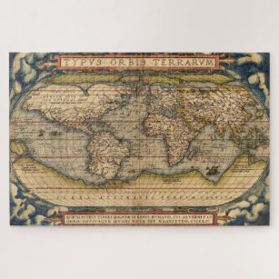 Vintage World Map by Abraham Ortelius 1564 Jigsaw Puzzle