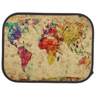 Vintage world map car mat