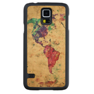 Vintage world map carved maple galaxy s5 case