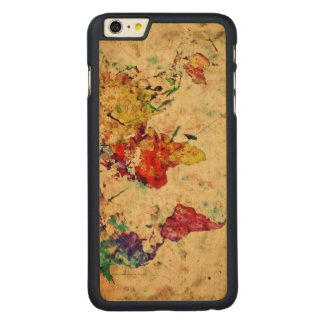 Vintage world map carved maple iPhone 6 plus case