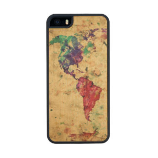 Vintage world map carved® maple iPhone 5 slim case