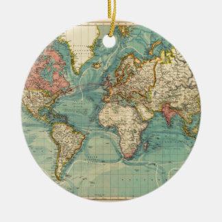 Vintage World Map Christmas Ornament