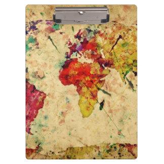 Vintage world map clipboard