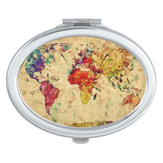 Vintage world map compact mirror