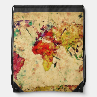Vintage world map drawstring bag
