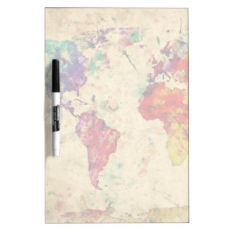Vintage world map dry erase board