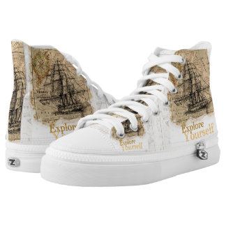 Vintage world map explore yourself high tops
