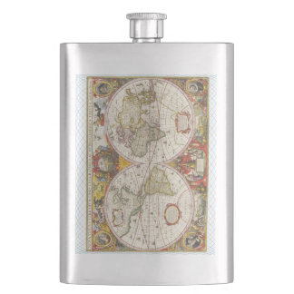 Vintage World Map Hip Flask