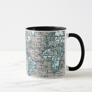 Vintage World Map in Black and Blue Mug