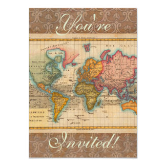Vintage World Map Personalized Invites