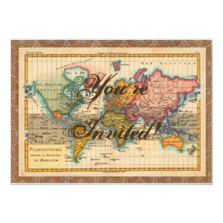 Vintage World Map Custom Invitation Cards
