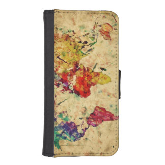 Vintage world map iPhone SE/5/5s wallet case