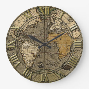 World map wall clocks zazzle vintage world map large clock gumiabroncs Image collections