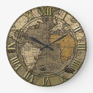 Vintage World Map Large Clock