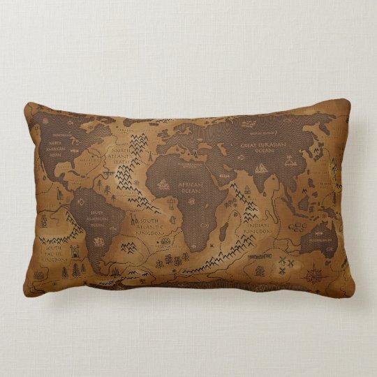 Vintage World Map - Lumbar Throw Pillow