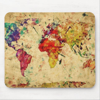 Vintage world map mouse mat
