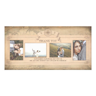Vintage World Map Old Wedding Thank You Photo Card Template