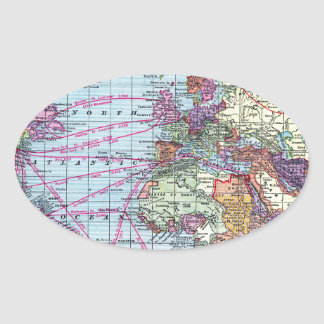 Vintage world map oval sticker