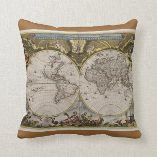 Vintage World Map Pillow