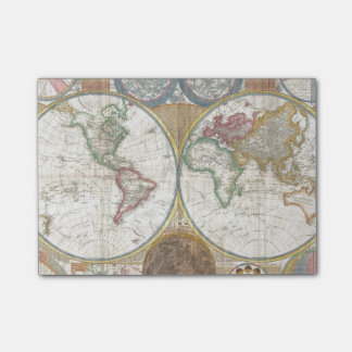 Vintage World Map Post-it Notes