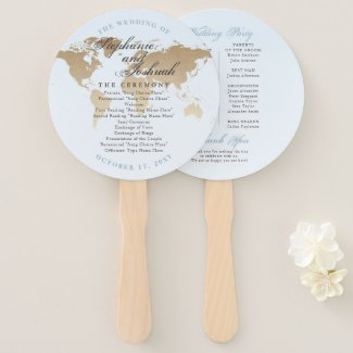 Vintage World Map Program Travel Theme Wedding Hand Fan