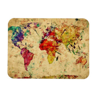 Vintage world map rectangular photo magnet