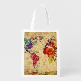 Vintage world map reusable grocery bag