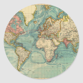 Vintage World Map Round Sticker