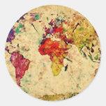 Vintage world map round sticker