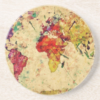 Vintage world map sandstone coaster